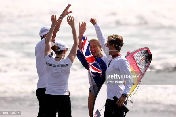 Ella Williams of Team New Zealand reacts after losing her Women's Round 3 heat on day three of the Tokyo 2020 Olympic Games at Tsurigasaki Surfing...