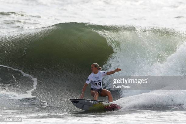 Ella Williams of Team New Zealand surfs during the Women's Round 3 heat on day three of the Tokyo 2020 Olympic Games at Tsurigasaki Surfing Beach on...