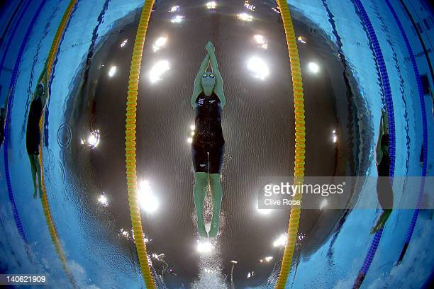 Ellan Gandy of Great Britain competes in the Women's 100m Butterfly semi final during the British Gas Swimming Championships at the London Aquatics...