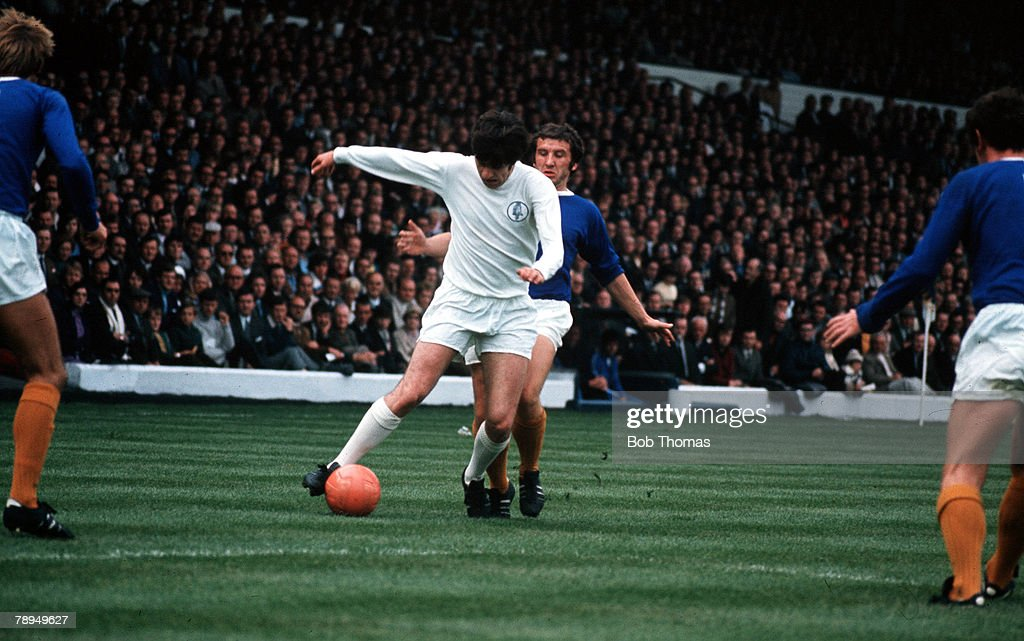 Elland Road, Leeds. Leeds United v Everton. Leeds United's Peter Lorimer is challenged by Everton players. : News Photo