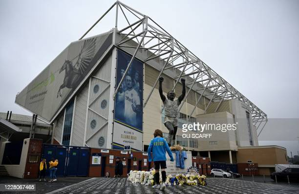 Elland Road stadium, the home ground of English Premier League football team Leeds United, is pictured in Leeds, northern England on August 16, 2020....