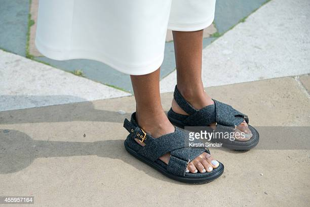 Elle Accessories Editor Donna Wallace is wearing Marni sandals on day 4 of London Collections Women on September 15 2014 in London England