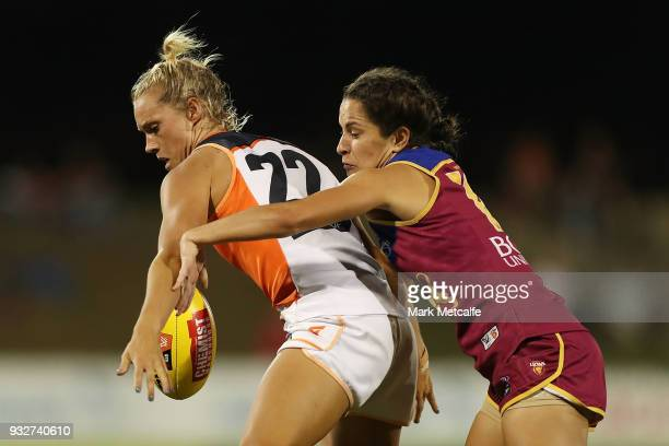 Elle Bennetts of the Giants in action during the round seven AFLW match between the Greater Western Sydney Giants and the Brisbane Lions at Blacktown...