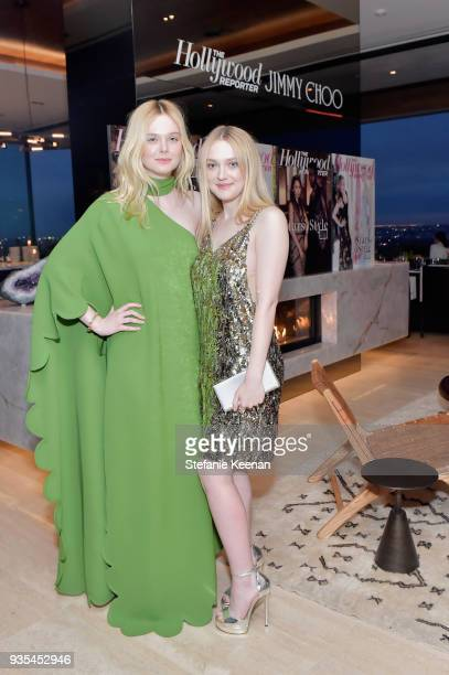 Elle Fanning and Dakota Fanning attend The Hollywood Reporter and Jimmy Choo Power Stylists Dinner on March 20 2018 in Los Angeles California