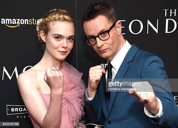 """Elle Fanning and Director, Nicolas Winding Refn attends""""The Neon Demon"""" New York Premiere at Metrograph on June 22, 2016 in New York City."""