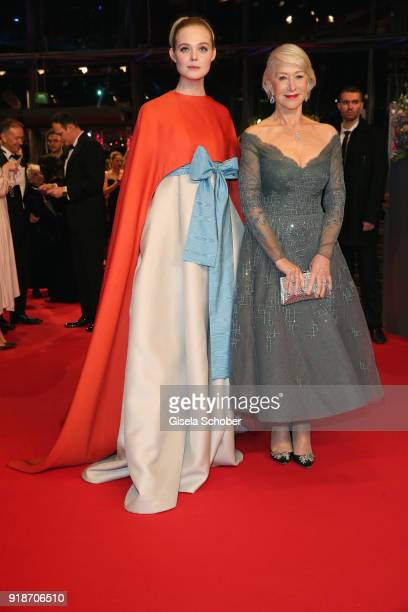 Elle Fanning and Helen Mirren attend the Opening Ceremony 'Isle of Dogs' premiere during the 68th Berlinale International Film Festival Berlin at...