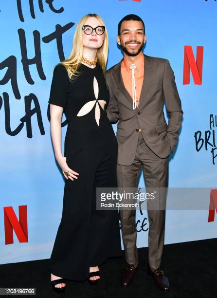Elle Fanning and Justice Smith attend a Special Screening of Netflix's All The Bright Places at ArcLight Hollywood on February 24 2020 in Hollywood...