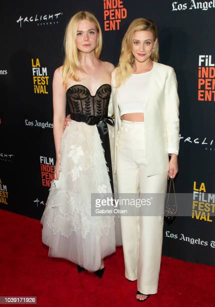 Elle Fanning and Lili Reinhart arrive for the screening of 'Galveston' during the 2018 LA Film Festival at ArcLight Culver City on September 23 2018...