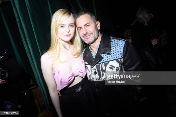 Elle Fanning and Marc Jacobs attend the Miu Miu after show as part of the Paris Fashion Week Womenswear Fall/Winter 2018/2019 on March 7 2018 in...