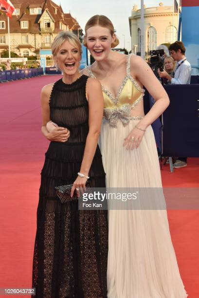 Elle Fanning and Melanie Laurent attend the 'Galveston' : Premiere during the 44th Deauville American Film Festival on September 1, 2018 in...