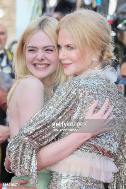 Elle Fanning and Nicole Kidman attend the 'How To Talk To Girls At Parties' screening during the 70th annual Cannes Film Festival at Palais des...