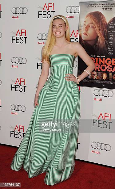 Elle Fanning arrives at the 'Ginger And Rosa' special screening during AFI Fest 2012 at Grauman's Chinese Theatre on November 7 2012 in Hollywood...
