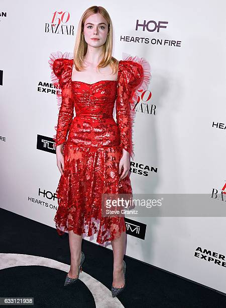 Elle Fanning arrives at the Harper's Bazaar Celebrates 150 Most Fashionable Women at Sunset Tower Hotel on January 27 2017 in West Hollywood...