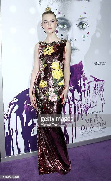 """Elle Fanning arrives at the Los Angeles premiere of Amazon's """"The Neon Demon"""" held at ArcLight Cinemas Cinerama Dome on June 14, 2016 in Hollywood,..."""