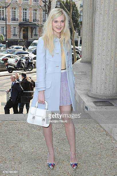 Elle Fanning arrives at the Miu Miu show as part of the Paris Fashion Week Womenswear Fall/Winter 20142015 on March 5 2014 in Paris France