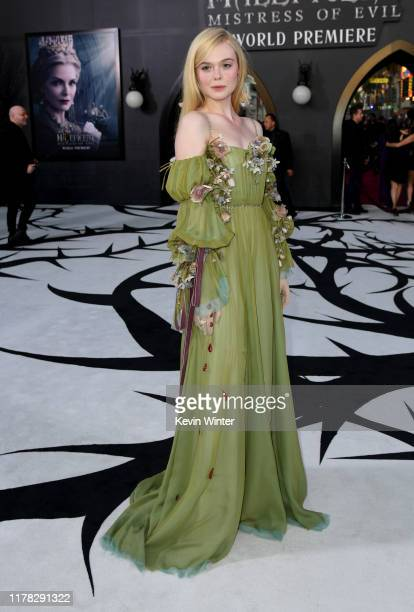 """Elle Fanning arrives at the premiere of Disney's """"Maleficent: Mistress Of Evil"""" at the El Capitan Theatre on September 30, 2019 in Los Angeles,..."""