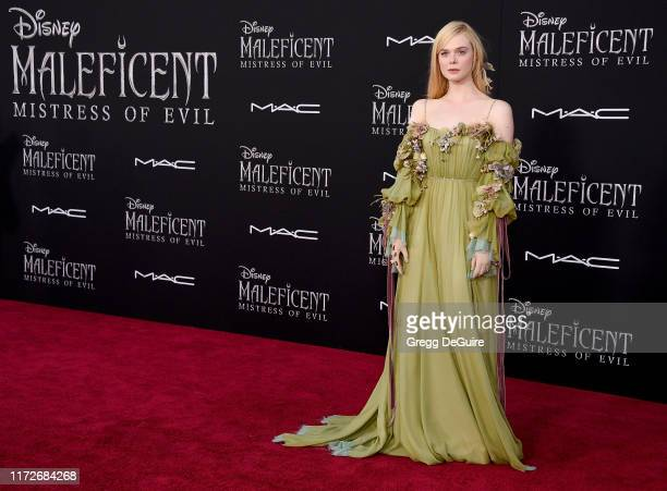 """Elle Fanning arrives at the World Premiere of Disney's """"Maleficent: Mistress Of Evil"""" at El Capitan Theatre on September 30, 2019 in Los Angeles,..."""