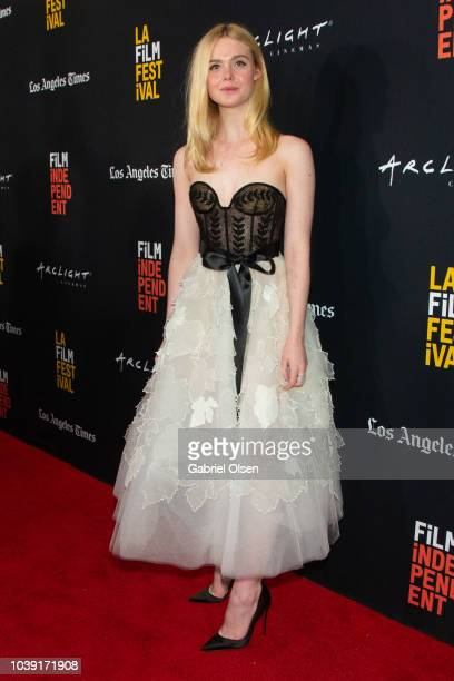 Elle Fanning arrives for the screening of 'Galveston' during the 2018 LA Film Festival at ArcLight Culver City on September 23 2018 in Culver City...
