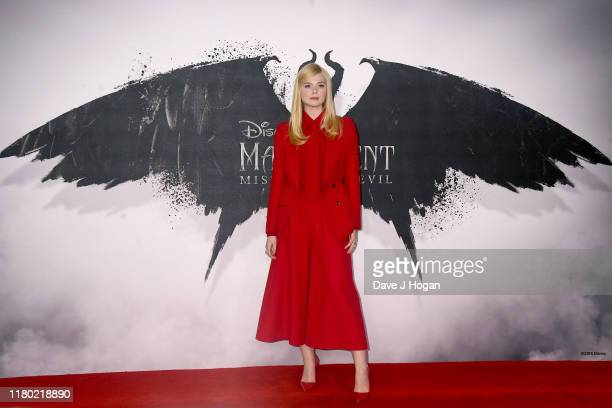 """Elle Fanning attends a photocall for """"Maleficent: Mistress of Evil"""" at Mandarin Oriental Hotel on October 10, 2019 in London, England."""