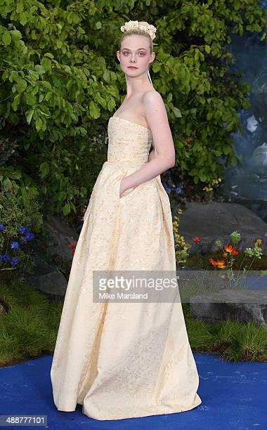 "Elle Fanning attends a private reception as costumes and props from Disney's ""Maleficent"" are exhibited in support of Great Ormond Street Hospital at..."