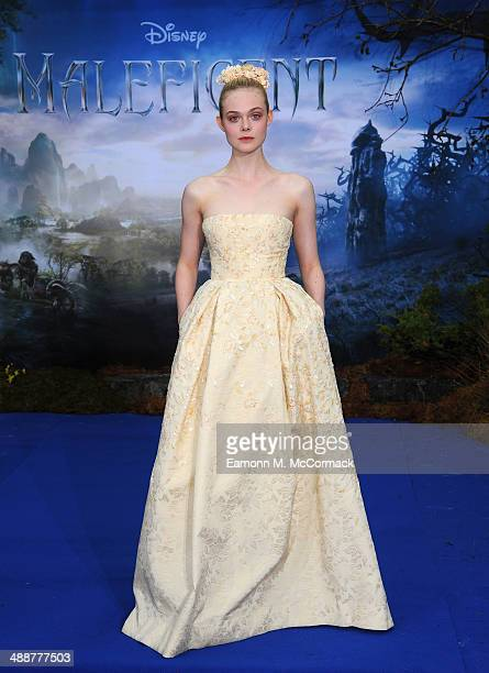 Elle Fanning attends a private reception as costumes and props from Disney's 'Maleficent' are exhibited in support of Great Ormond Street Hospital at...