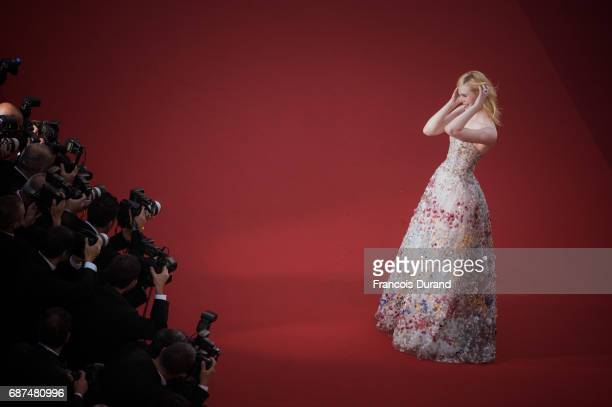 Elle Fanning attends the 70th Anniversary Event during the 70th annual Cannes Film Festival at Palais des Festivals on May 23 2017 in Cannes France