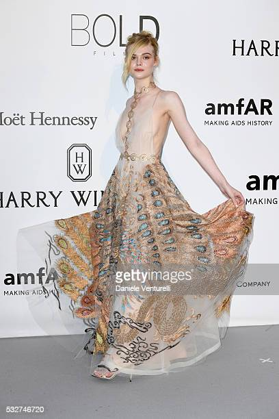 Elle Fanning attends the amfAR's 23rd Cinema Against AIDS Gala at Hotel du CapEdenRoc on May 19 2016 in Cap d'Antibes France