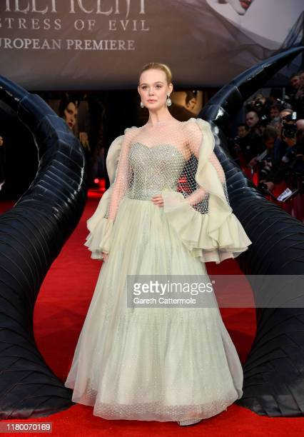 """Elle Fanning attends the European Premiere of Disney's """"Maleficent: Mistress of Evil"""" at Odeon IMAX Waterloo on October 09, 2019 in London, England."""
