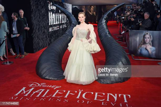 """Elle Fanning attends the European Premiere of """"Maleficent: Mistress Of Evil"""" at the Odeon IMAX Waterloo on October 09, 2019 in London, England."""