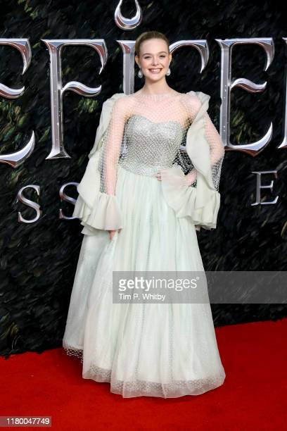 """Elle Fanning attends the European premiere of """"Maleficent: Mistress of Evil"""" at Odeon IMAX Waterloo on October 09, 2019 in London, England."""