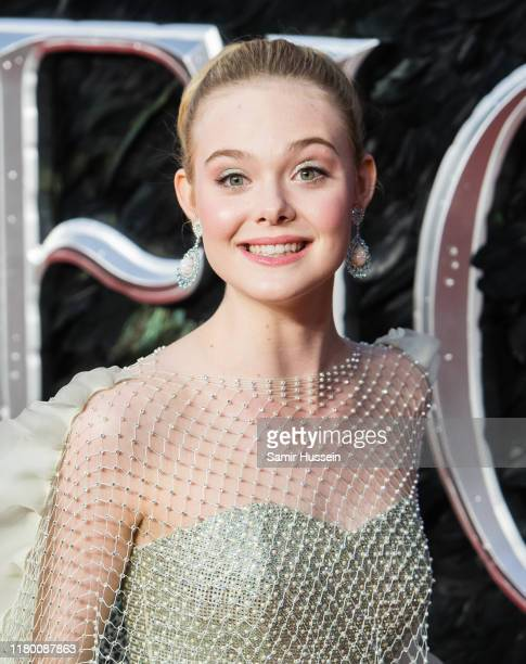 Elle Fanning attends the European premiere of Maleficent Mistress of Evil at Odeon IMAX Waterloo on October 09 2019 in London England