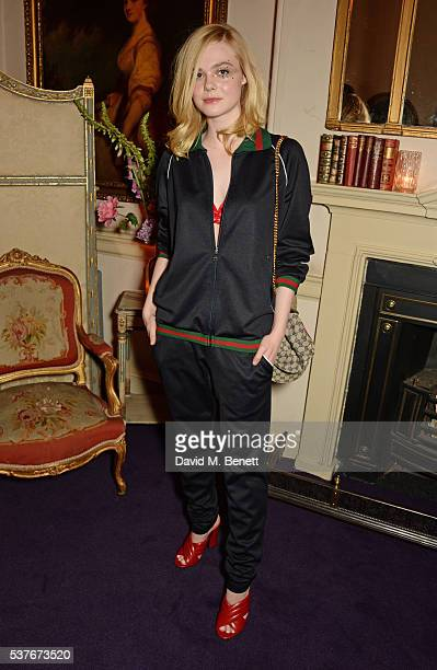 Elle Fanning attends the Gucci party at 106 Piccadilly in celebration of the Gucci Cruise 2017 fashion show on June 2 2016 in London England