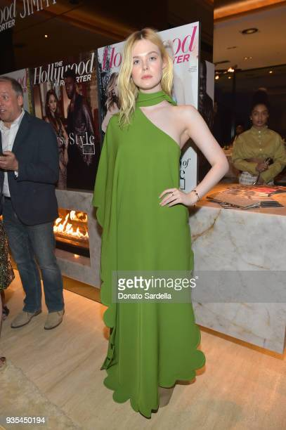 Elle Fanning attends The Hollywood Reporter and Jimmy Choo Power Stylists Dinner on March 20 2018 in Los Angeles California