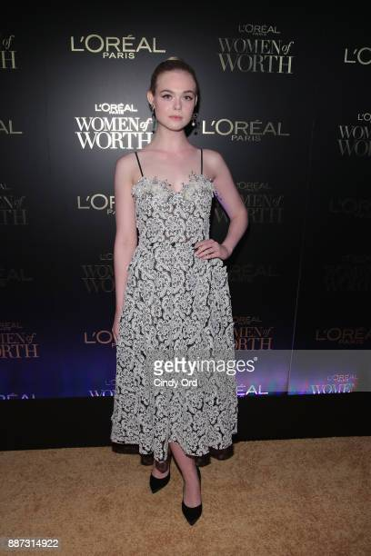 Elle Fanning attends the L'Oreal Paris Women of Worth Celebration 2017 on December 6 2017 in New York City