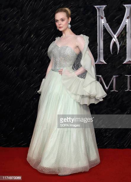 Elle Fanning attends the Maleficent: Mistress of Evil European Film Premiere at the Odeon IMAX Waterloo in London.