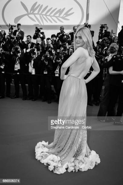 Elle Fanning attends 'The Meyerowitz Stories' premiere during the 70th annual Cannes Film Festival at Palais des Festivals on May 21 2017 in Cannes...