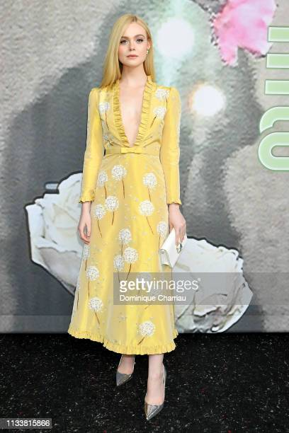 Elle Fanning attends the Miu Miu show as part of the Paris Fashion Week Womenswear Fall/Winter 2019/2020 on March 05 2019 in Paris France
