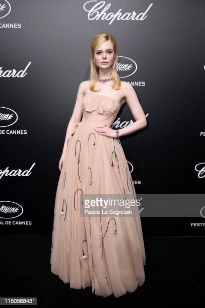 Elle Fanning attends the Official Trophee Chopard Dinner Photocall as part of the 72nd Cannes International Film Festival on May 20 2019 in Cannes...