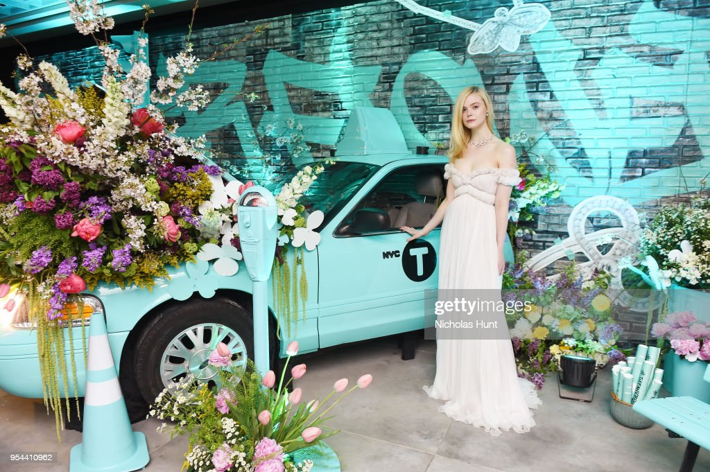 Elle Fanning attends the Tiffany & Co. Paper Flowers event and Believe In Dreams campaign launch on May 3, 2018 in New York City.