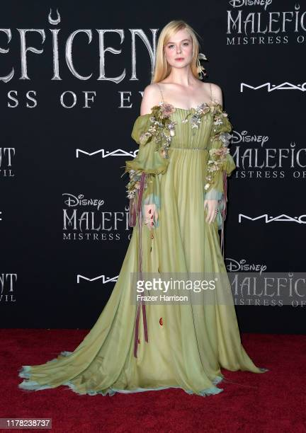 "Elle Fanning attends the World Premiere of Disney's ""Maleficent: Mistress of Evil"" at El Capitan Theatre on September 30, 2019 in Los Angeles,..."