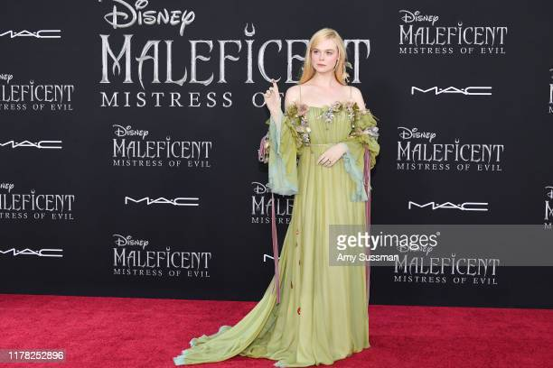 "Elle Fanning attends the world premiere of Disney's ""Maleficent Mistress Of Evil at El Capitan Theatre on September 30 2019 in Los Angeles California"