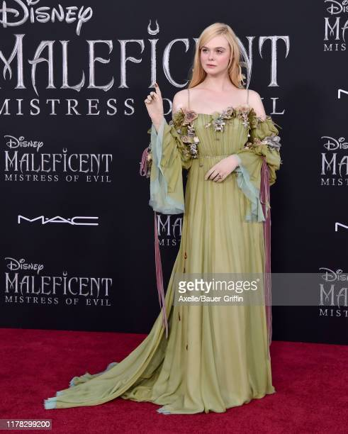 """Elle Fanning attends the World Premiere of Disney's """"Maleficent: Mistress of Evil"""" at El Capitan Theatre on September 30, 2019 in Los Angeles,..."""