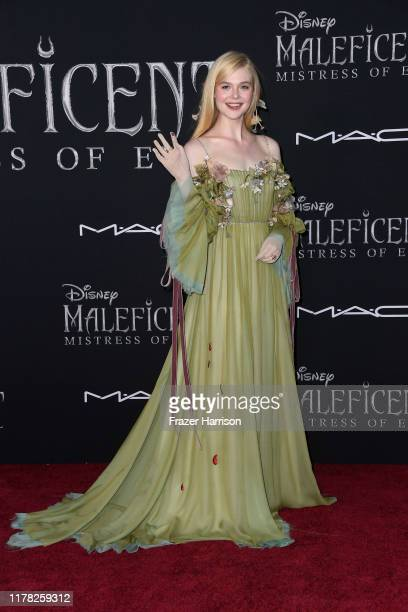 """Elle Fanning attends the World Premiere Of Disney's """"Maleficent: Mistress Of Evil"""" - Red Carpet at El Capitan Theatre on September 30, 2019 in Los..."""
