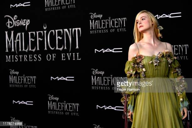 "Elle Fanning attends the World Premiere Of Disney's ""Maleficent: Mistress Of Evil"" - Red Carpet at El Capitan Theatre on September 30, 2019 in Los..."