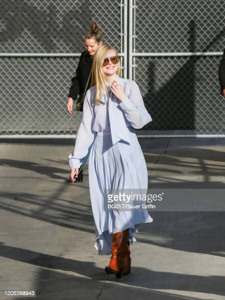 Elle Fanning is seen arriving at the 'Jimmy Kimmel Live' Show on March 04 2020 in Los Angeles California