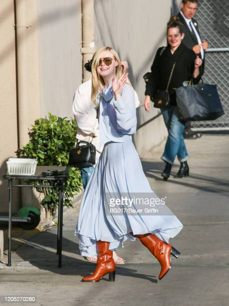 Elle Fanning is seen arriving at the 'Jimmy Kimmel Live' Show on March 04, 2020 in Los Angeles, California.