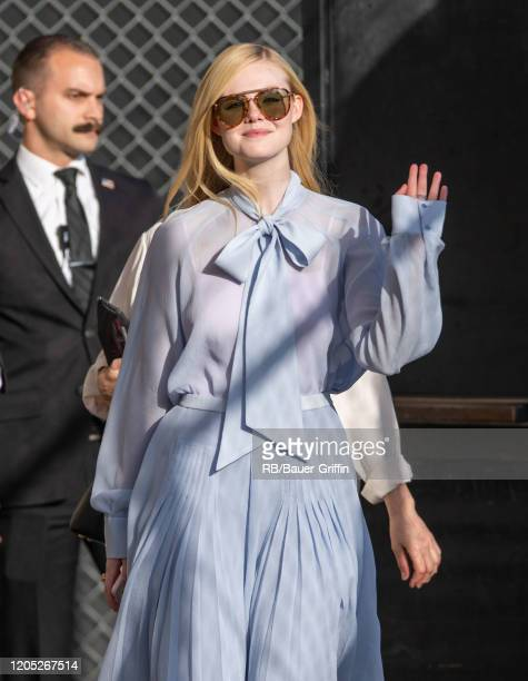 Elle Fanning is seen at 'Jimmy Kimmel Live' on March 04 2020 in Los Angeles California