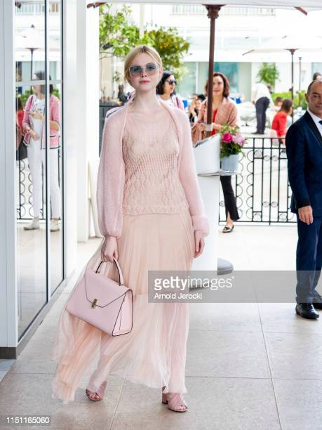 Elle Fanning is seen at the hotel Martinez during the 72nd annual Cannes Film Festival on May 23 2019 in Cannes France