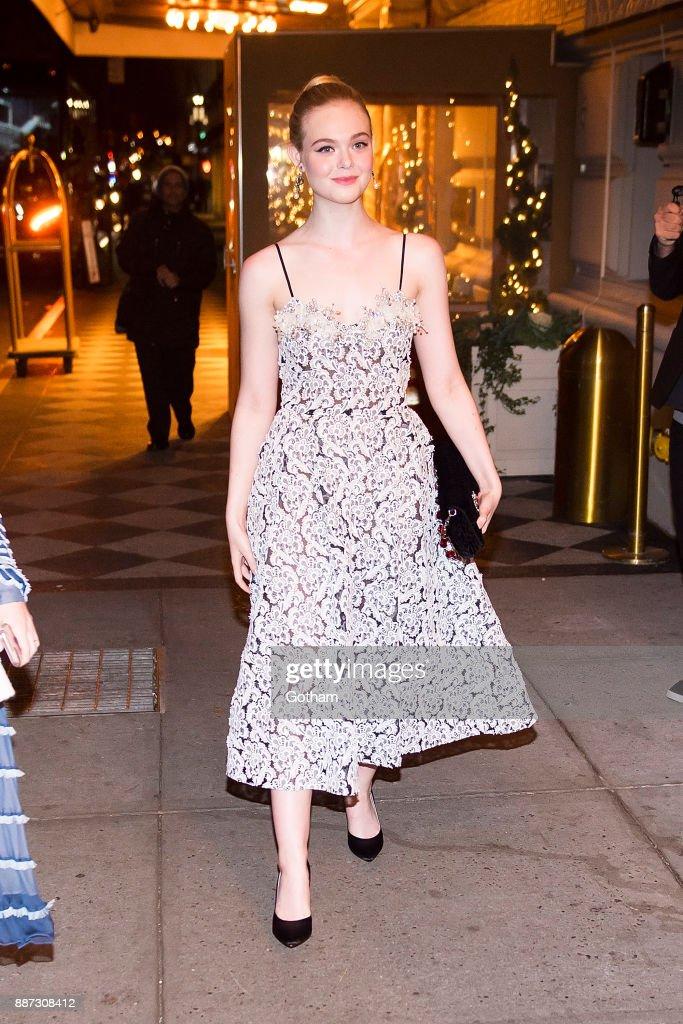 Elle Fanning is seen in Midtown on December 6, 2017 in New York City.