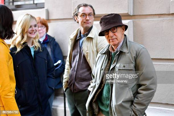 Elle Fanning Jude Law and Woody Allen seen on location for Woody Allen's untitled movie on October 18 2017 in New York City